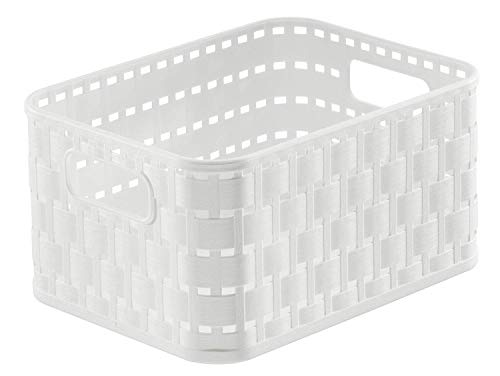 Rotho Country Aufbewahrungskorb 2l in Rattan-Optik, Kunststoff (PP) BPA-frei, weiss, A6/2l (18,3 x 13,7 x 9,8 cm)