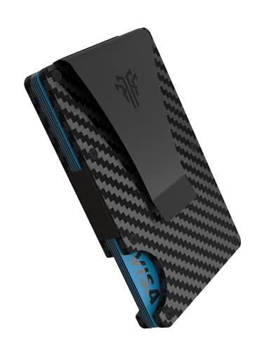 TITAN X Cartera Pro-Edition - Pinza - Tarjetero Minimalista - Elegante - Seguro Bloqueo RFID - Cartera Moderna - Calidad - Ligera - Cómoda - Compacta (Fibra de Carbono, Gris)