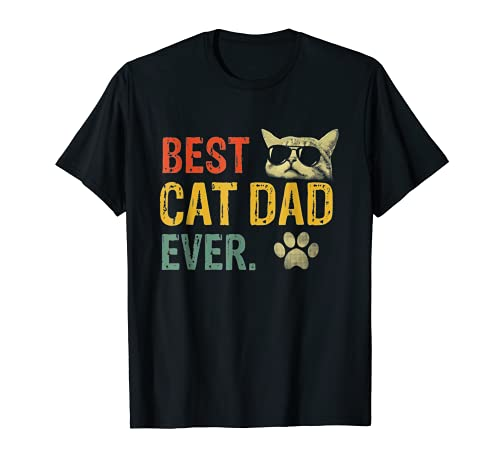 Vintage Best Cat Dad Ever T-Shirt Cat Daddy Gift T-Shirt