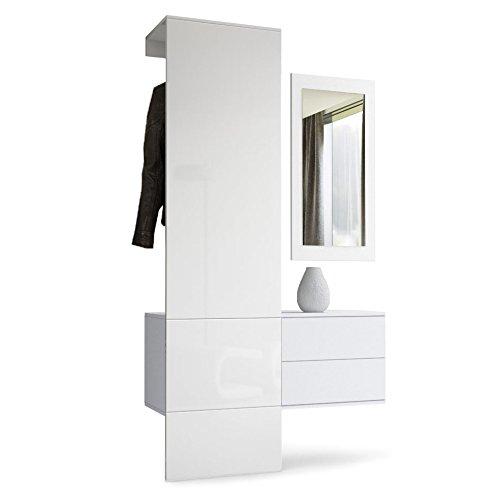 Vladon Garderobe Wandgarderobe Carlton Set 2, Korpus in Weiß matt/Paneel in Weiß Hochglanz