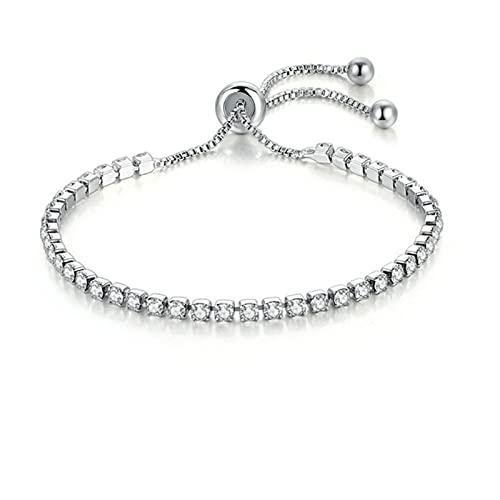 Bracciale per Donna Luxury Style 4 Colori Cubic Zirconia Colore Argento Gioielli di Moda Regalo-Argento Trasparente