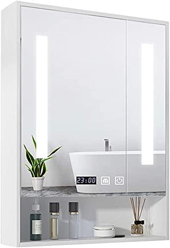 Cabinete de Espejo Inteligente Baño de Pared con lámpara Caja de Almacenamiento Aumento del Cuerpo Humano Mirror de inducción del Espejo Delantero Espejo de Alta definición 80 * 80 * 14 cm