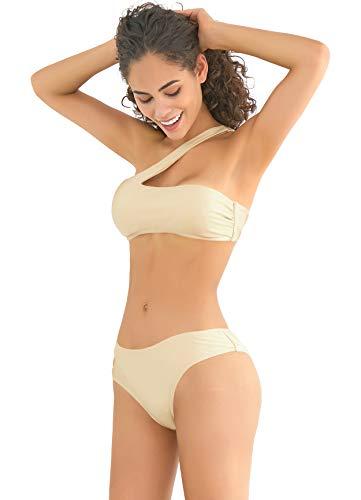 SHEKINI Damen Sommer Bikini Bauchweg Strand Bikini Schulterlos Bikinis Set Cut Out Sexy Zweiteiliger Gepolstert Bandeau Bikini Grosse Grössen für Frauen (Small, Champagner Gold)