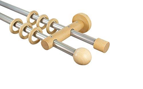 iso-design Gardinenstangen 2-läufig 16 mm aus Metall und Holz Alu/Buche Endstück Kugel, 240 cm (2 x 120 cm)