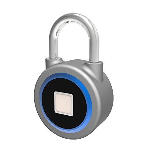 Fingerabdruck-Vorhängeschloss Smart Bluetooth-Schloss Metall IP65 schlüsselloses, biometrisches Schloss Gym Locker Door Rucksack Gepäck Koffer Fahrrad Büro USB-Lade-APP ist für Android/iOS geeignet