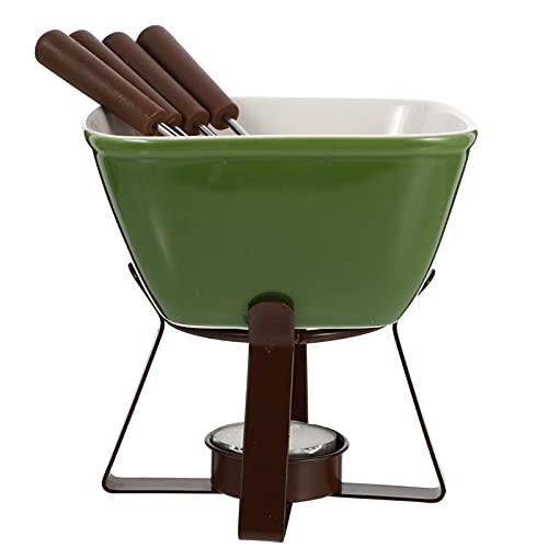 Cabilock 1 Juego de Fundicion de Queso Olla de Fondue Cerámica Mantequilla Chocolate Olla Caliente Cocina de Acero Inoxidable Utensilios de Cocina (Verde)