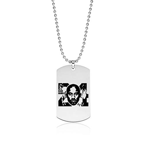 Kobe bryant RIP Army Tag Charm Pendant Necklace Titanium steel chain Stainless Steel Basketball Star Mamba Spirit Memorial Souvenir (D)