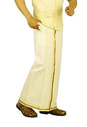 Prakasam Cotton Mens Velcro pocket Single Dhoti with Cream colour & Gold Jari Border