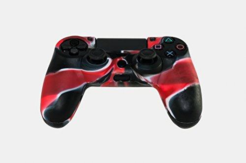 GAMINGER Protector camuflado suave de silicón de gel para Control Dualshock de Sony PlayStation 4 PS4 - negro y rojo