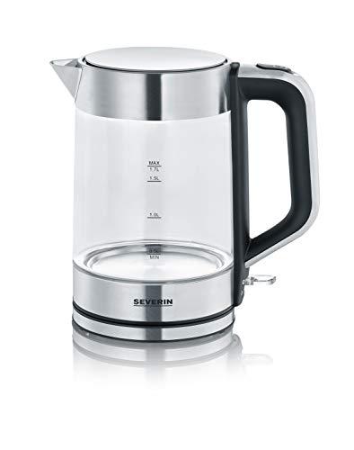 SEVERIN 3420-000 WK 3420 Wasserkocher, 2200, 1.7 liters, Glas-Edelstahl-gebürstet/schwarz