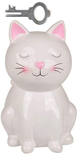 MC Trend Spardose Katze mit Schloss Weiß Keramik Sparschwein sparen Deko Figur Sparbüchse ca. 16 cm