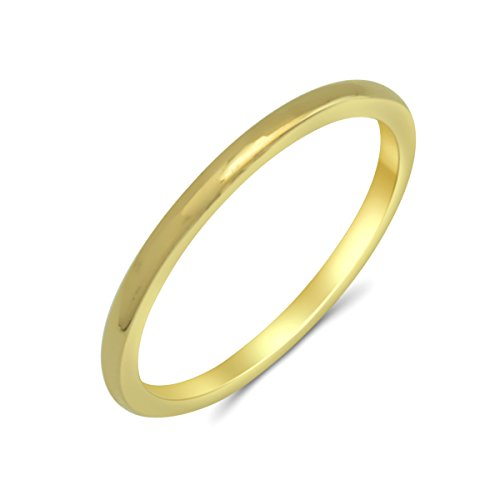 Goldring 585 Gold Massiv Gelbgold 14 Karat Damen Bandring - Ring - Vorsteckring ohne Stein Gr 48 bis 62 1,5mm (49 (15.6))