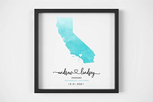 Engagement Map Print Personalized Engagement Gift Watercolor Wedding Map Framed Print Unique Engagement Gift for Couple Engagement Gift