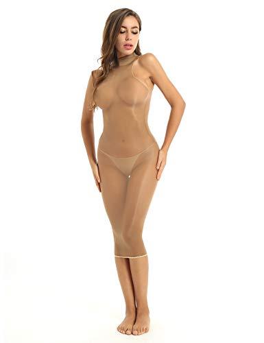 Aislor Damen Nylon Dessous Kleid Transparent Unterwäsche Ouvert Body Stockings Erotik Enge Kleider Maxi & Minikleid Reizvolle Babydoll Negligee Kaffee One Size