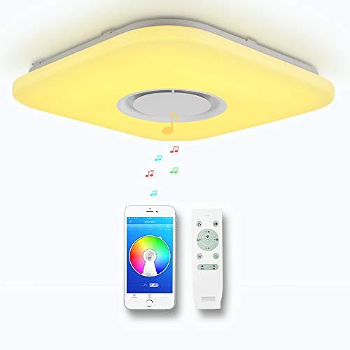 CHYSONGOODS 36W 38CM 15 Inch Quadrat Deckenleuchte LED Mit Bluetooth Lautsprecher App Fernbedienung Dimmbar Farbwechsel Deckenlampe Schlafzimmer Bad Wohnzimmer