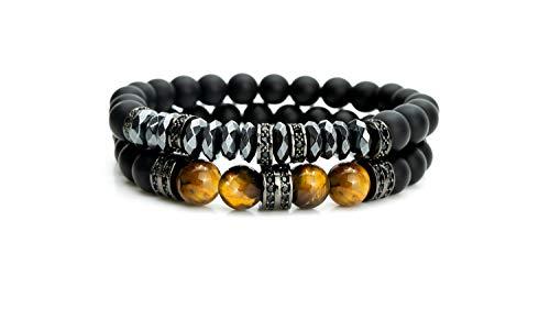 Mister Boncuk - Pulsera de perlas premium para hombres con perlas de piedra natural para hombre con ojo de tigre y ónix con perlas intermedias, juego de 2 pulseras