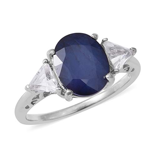 TJC Solitaire Blue Sapphire Ring for Women 925 Sterling Silver White Topaz Size S, 5.08 Ct