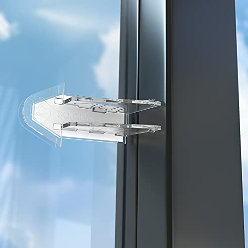 Sliding Door Lock Child Safety - Glass Doors, Closets, Patio, Windows, 4 Count, Clear