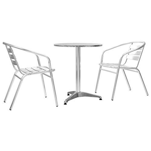 Disfruta Tus Compras con Set de Mesa y sillas bistró de jardín 3 pzas Aluminio Plateado