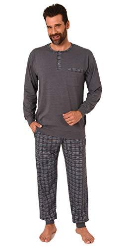NORMANN WÄSCHEFABRIK Herren Pyjama Mix & Match mit Bündchen und Karierter Jersey Hose - auch in Übergrössen, Größe2:56, Farbe:grau-Melange