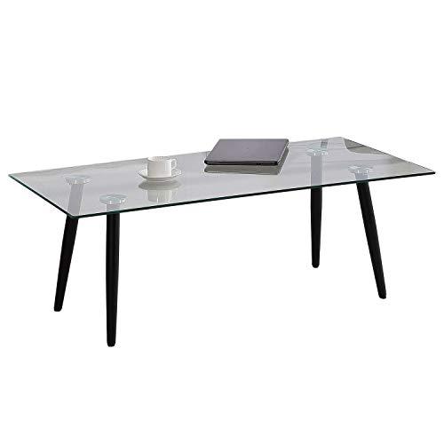 Adec - Suecia, Mesa de Centro, mesita Comedor de Cristal Patas Color Negro, Medidas: 120 x 60 x 45 cm de Alto