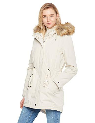 Royal Matrix Women's Mid-Length Detachable Faux Fur Winter Parka Jacket with Ribbing (Off White, 2)