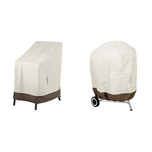 Amazon Basics Housse de Protection pour chaises de Jardin empilables & Housse pour Barbecue au Charbon Ø67 cm