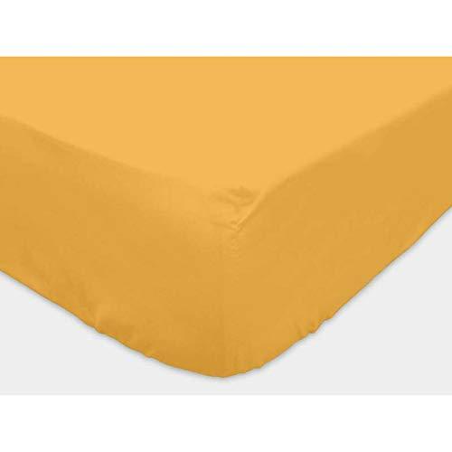 Sábana Bajera amarilla Lisa 140x190 cm de algodón