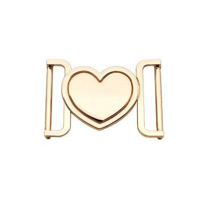 Aboo Fibbia a Cuore in Lega di Metallo Fibbia in Oro Fibbia Decorativa Nera Fibbia per Cintura 40 mm Chiusura per Cappotti Cinturino in Pelle Artigianale Cinturino per Zaino