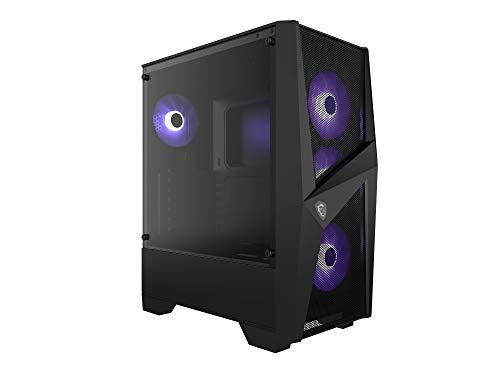 msi MAG Forge 101M Mid-Tower PC-Gehäuse (3 x 120 mm RGB + 1 x 120 mm RGB Lüfter, gehärtetes Glas, ATX, mATX, Mini-ITX) schwarz