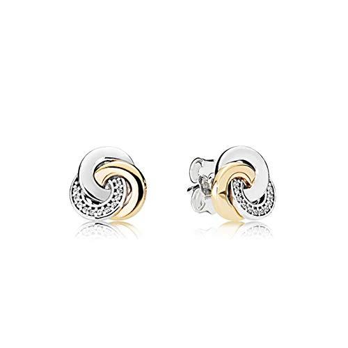 Nudo concéntrico S925 pendientes de amor entrelazados de plata pendientes de circonita de plata esterlina pendientes regalo del día de San Valentín