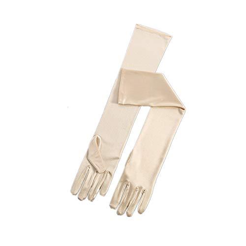 RdChicLog Party Hochzeit Satin Handschuhe Lang Brauthandschuhe Kostüm Zubehör Damen Karneval Halloween lange Handschuhe (Champagner)