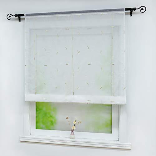 Joyswahl Voile Raffrollo mit Tunnelzug Transparente Bändchenrollo mit Blumen-Stickerei »Lilii« Schals Fenster Gardine BxH 60x120cm Sand 1 Stück
