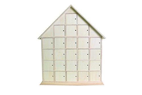 Artemio 44,5x 35x 7cm Holz Haus Adventskalender zu dekorieren, beige