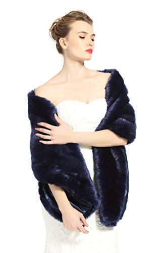 BEAUTELICATE Women's Faux Fur Shawl Stoles Wrap for Bridal/Wedding/Party-S62 Navy Blue, Navy Blue, 67