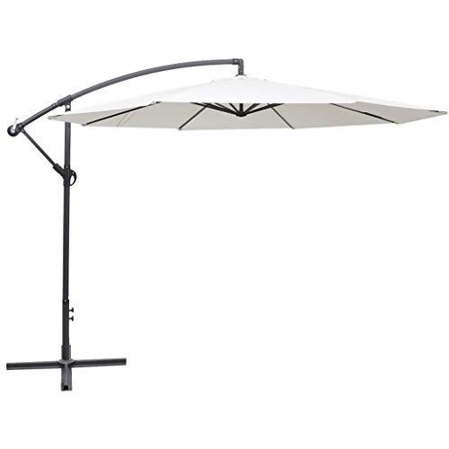 Cikonielf Sombrilla de brazo de poliéster 350 x 254 cm, sombrilla voladiza, parasol de exterior con poste de aluminio resistente al viento, anti UV, terraza, jardín, playa, blanco y arena