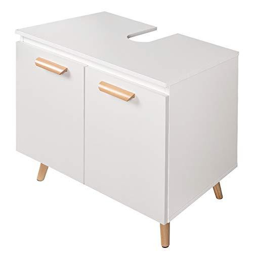 eSituro Mueble Bajo Lavabo Armario de Suelo para Baño Mueble de Baño Organizador Estante de Baño Gabinete de Almacenamiento, MDF Blanco SBP0062