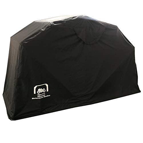 ICover Motorcycle Bike Garage Shelter - 2 sizes, Heavy Duty 600D Oxford 100% Waterproof Material (345cm x 137cm x 190cm)