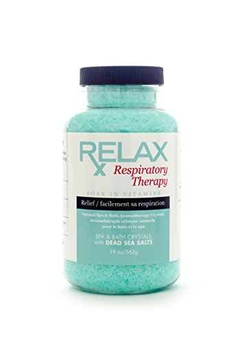 Relax Respiratory Best Aromatherapy Bath Salts, 19 Ounce Bottle, Dead Sea Crystals Infused with Vitamins and Minerals for Enhanced Breathing and Healing, Safe for Spa, Bath, and Whirlpool