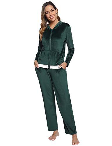 Abollria Hausanzug Damen Trainingsanzug Jogginganzug Anzug Zweiteiliger Velour Freizeitanzug Oberteil und Hose mit Kapuze Reißverschluss Taschen