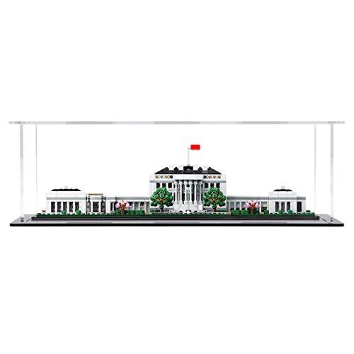 Likecom Vitrina acrílica para Lego White House 21054 (resistente al polvo de perspex, base de plástico para Lego White House 21054), base negra