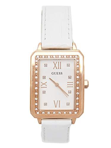 GUESS Factory NS - Reloj analógico para mujer, color blanco y oro rosa