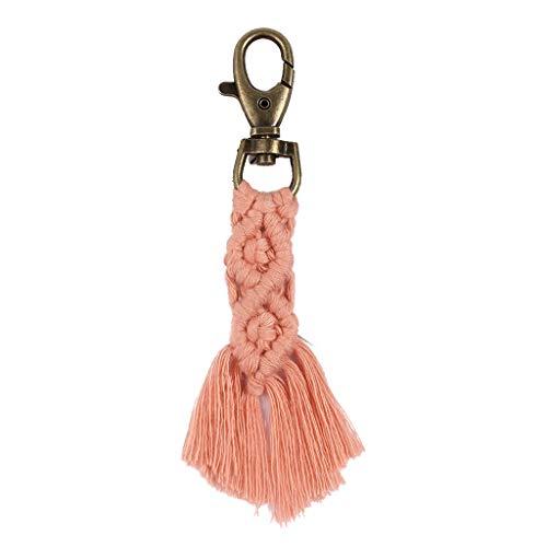 suoryisrty Macrame Tassel Key Chain Llavero Llavero para Lady Handmade Keychain Bag Charm - Rosa