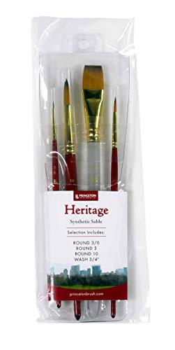 Princeton Heritage, Golden Taklon Brushes for Warercolor & Acrylic, Series 4050 Synthetic Sable, Professional Set