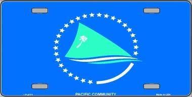 Koopje Wereld Pacifische Gemeenschap Vlag Metalen Novelty License Plaat (Met Sticky Notes)