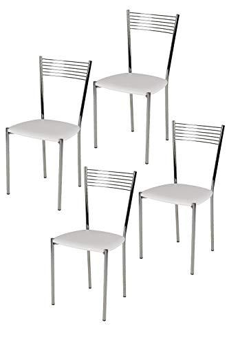 Tommychairs - Set 4 sedie modello Elegance per cucina bar e sala da pranzo, struttura in acciaio cromato e seduta imbottita e rivestita in pelle artificiale colore bianco