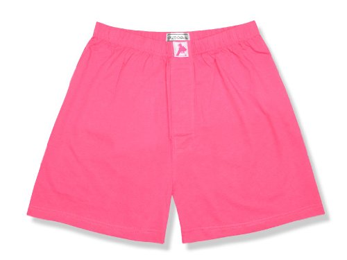 Biagio Mens Solid HOT Pink Fuchsia Color Boxer 100% Knit Cotton Shorts sz Large
