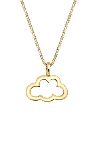 Elli Halskette Damen Wolke Anhänger Cut Out Trend Cloud in 925 Sterling Silber vergoldet