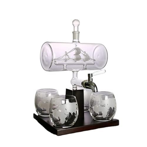 Decantador, decantador de cristal de cristal, dispensador de bebidas para vino, whisky, ron y licor o licores