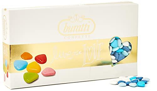 Buratti Confetti Dragees au Chocolat Mini Coeur Ombrè Bleues 1 Kg